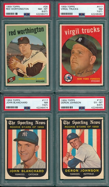 1959 Topps Lot of (6) W/ #117 Blanchard PSA