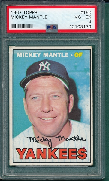 1967 Topps #150 Mickey Mantle PSA 4
