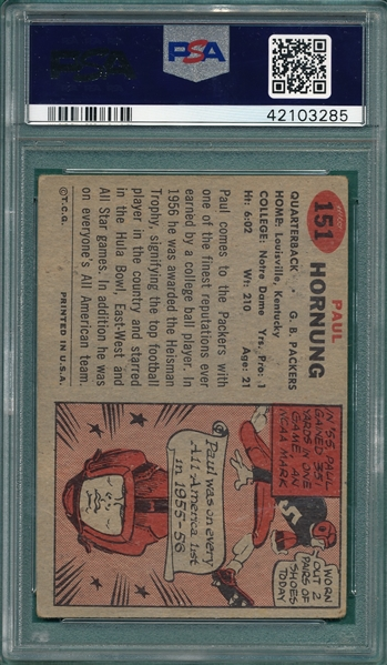 1957 Topps FB #151 Paul Hornung PSA 2 *Rookie*