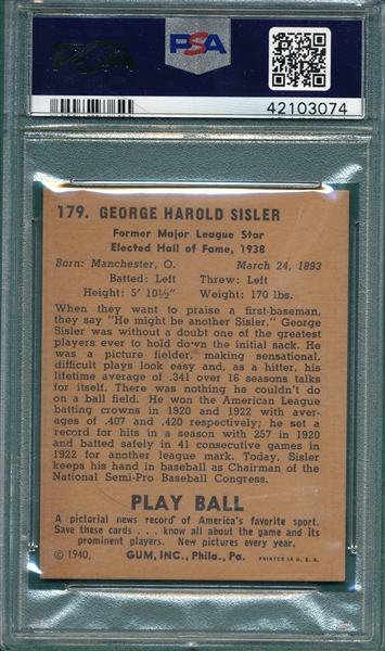 1940 Play Ball #179 George Sisler PSA 4