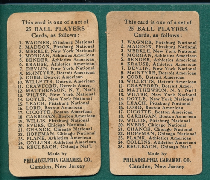 1909 E95 McIntyre & Willetts, Lot of (2), Philadelphia Caramel Co.
