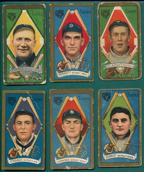1911 T205 Lot of (6) Tigers W/ Jennings