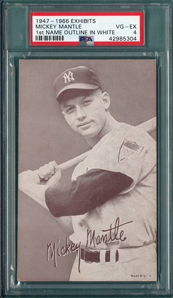 1947-66 Exhibits Mickey Mantle, First Name Outlined, PSA 4
