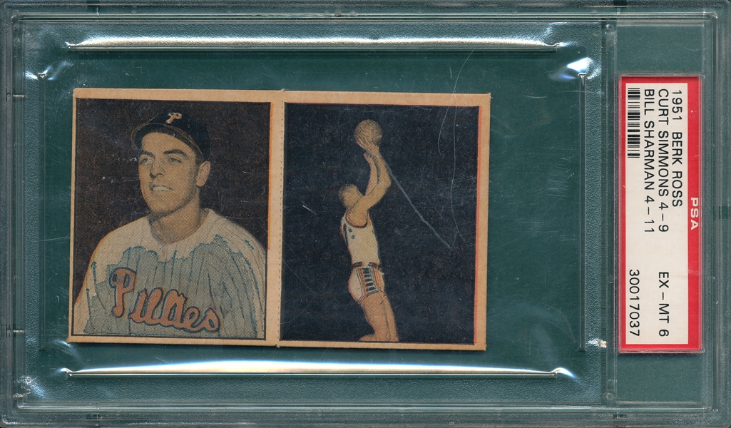 1951 Berk Ross Panel, 4-9/4-11, Simmons/Sharman, PSA 6