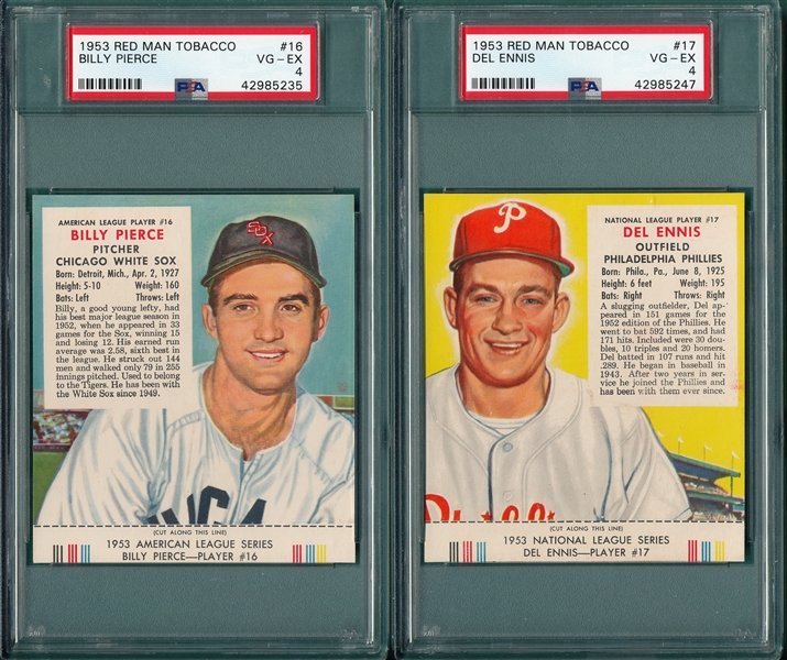 1953 Red Man Tobacco Lot of (3) W/ #23N Hacker PSA 5 *W/ Tab*