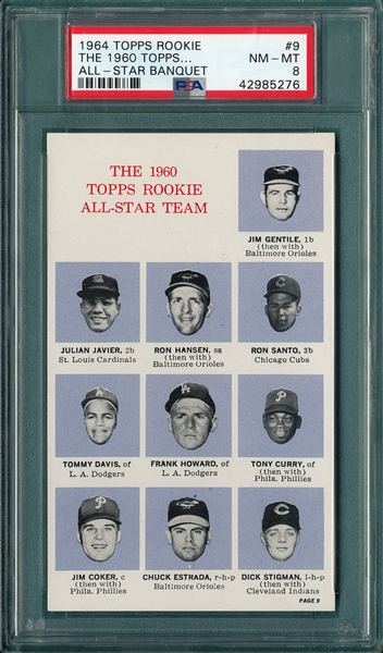 1964 Topps Rookie All-Star Banquet #9 1960 Rookies W/ Santo, PSA 8