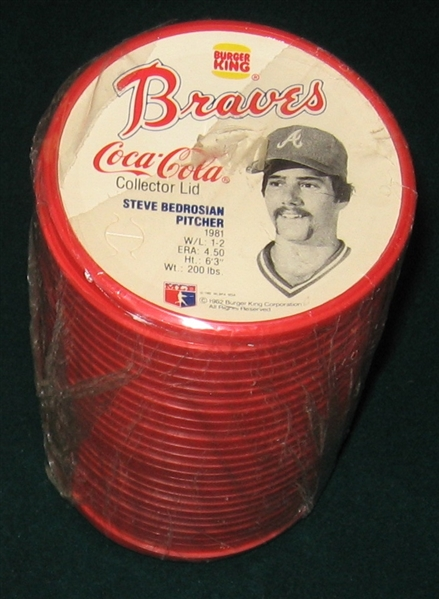 1982 Burger King Atlanta Braves Lids, Complete Set (27) *Still Wrapped*