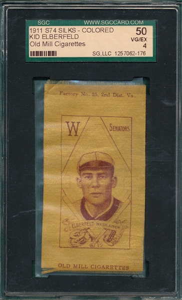 1911 S74 Silks Kid Elberfeld, Old Mill Cigarettes SGC 50 *Colored*
