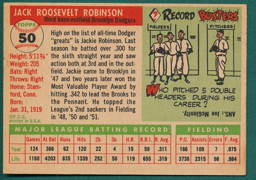 1955 Topps #50 Jackie Robinson