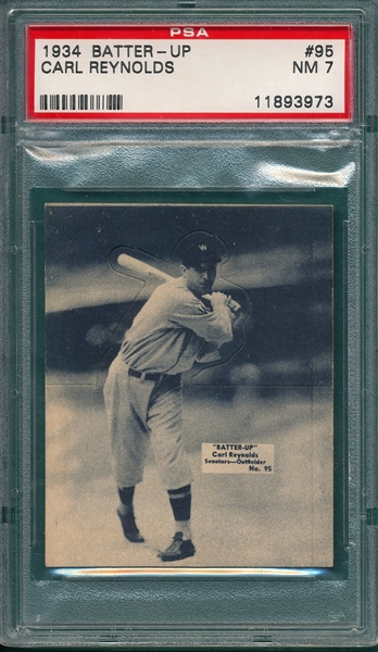 1934 Batter-Up #95 Carl Reynolds PSA 7