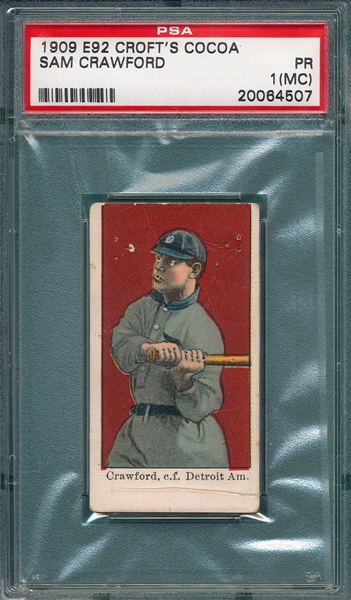 1909 E92 Sam Crawford Croft's Cocoa PSA 1 (MC)