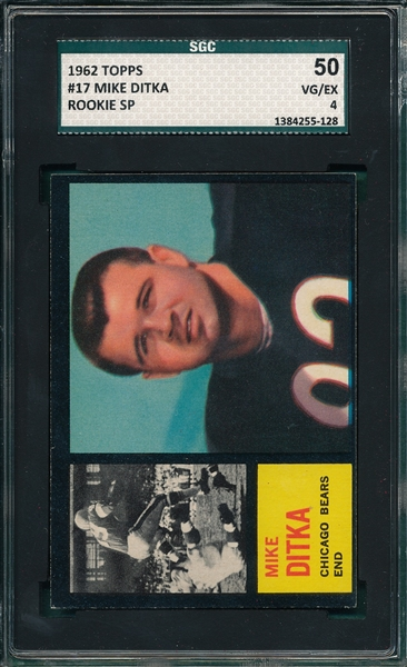 1962 Topps FB #17 Mike Ditka SGC 50 *SP* *Rookie*