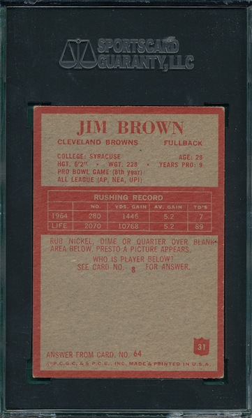 1965 Philadelphia FB #31 Jimmy Brown SGC 60