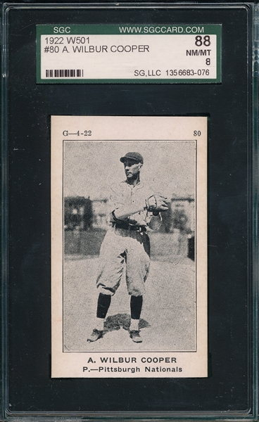 1922 W501 #80 A. Wilbur Cooper SGC 88 *Only 6 Graded* *Highest Graded*
