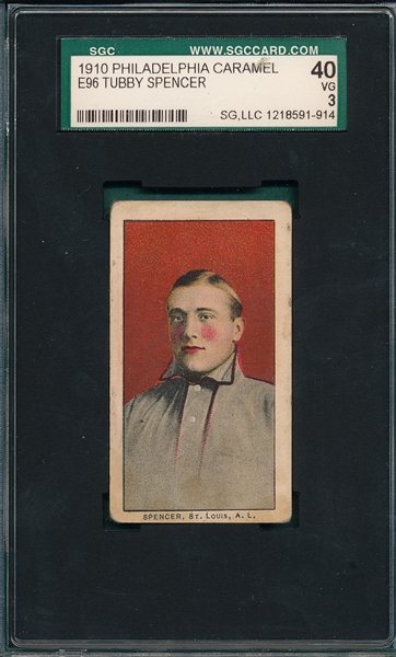 1910 E96 Tubby Spencer Philadelphia Caramel Co. SGC 40