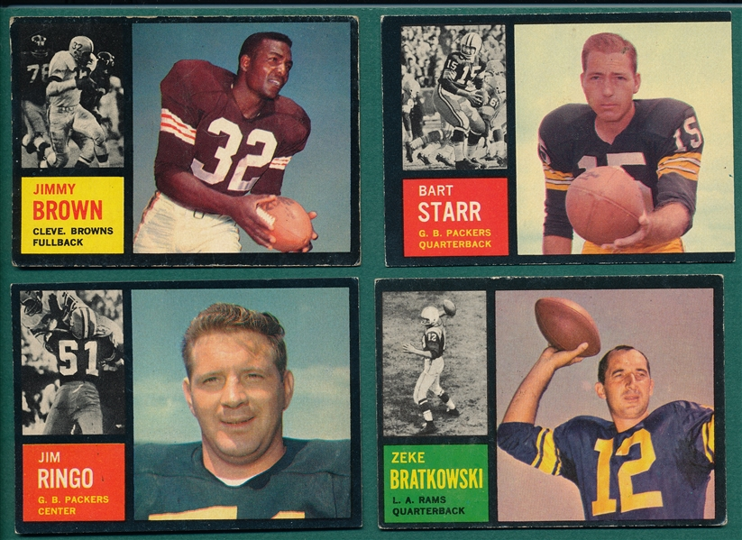 1962 Topps FB Lot of (4) W/ Jim Brown & Starr