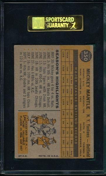 1960 Topps #350 Mickey Mantle SGC 50