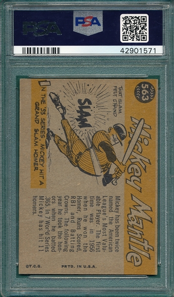 1960 Topps #563 Mickey Mantle, All Star, PSA 5 *Hi #*