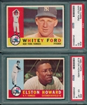 1960 Topps #35 Ford & #65 Elston Howard, Lot of (2) PSA