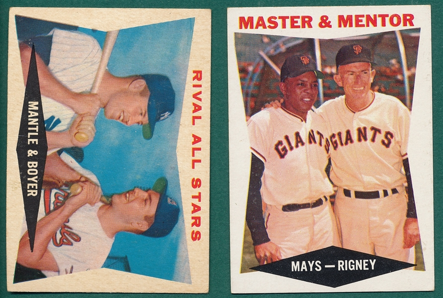 1960 Topps #7 W/ Mays & #160 W/ Mantle, Lot of (2)