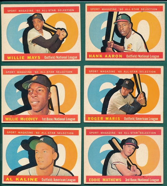 1960 Topps Lot of (6) High Number All Star Cards W/ Mays and Aaron