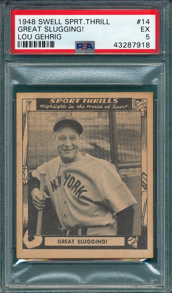1948 Swell Sport Thrill #14 Lou Gehrig PSA 5
