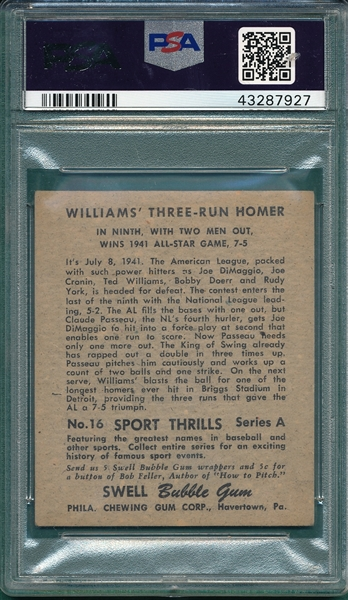 1948 Swell Sport Thrill #16 DiMaggio/ Ted Williams PSA 4