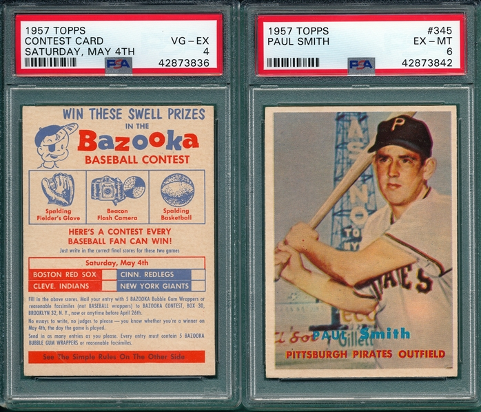 1957 Topps Lot of (5) W/ Contest Card, May 4th PSA
