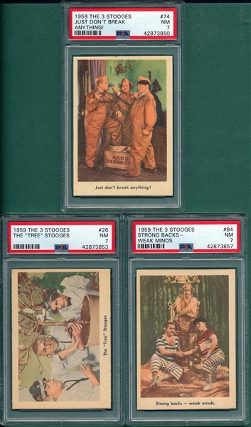 1959 The 3 Stooges #26, #74 & #84, Lot of (3), PSA 7