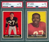 1961 Topps FB Lot of (6) W/ #61 Owens PSA 8