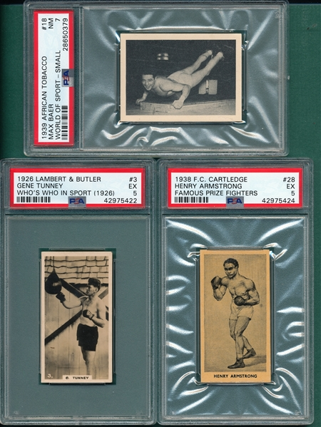 1926-39 Lot of (3) Boxers W/ Tunney PSA