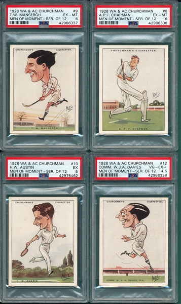 1928 WA & AC Churchman, Men of the Moment in Sport, Lot of (4) PSA
