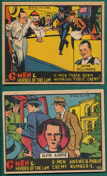 1936 G-Men & Heroes of the Law, Gum, Inc., (2) Card Lot