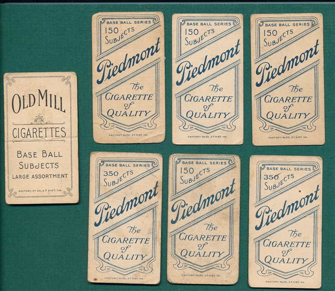 1909-1911 T206 Lot of (7) W/ Manning, Old Mill Cigarettes