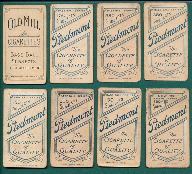 1909-1911 T206 Lot of (8) W/ McQuillan, Old Mill Cigarettes