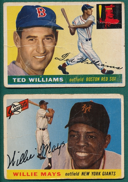 1955 Topps #2 Ted Williams & #194 Willie Mays, Lot of (2)
