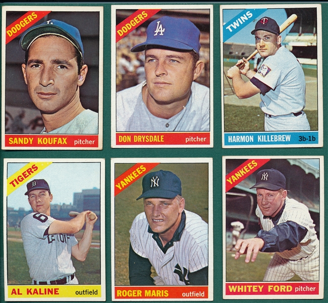 1966 Topps Lot of (6) Hall of Famers W/ #100 Koufax
