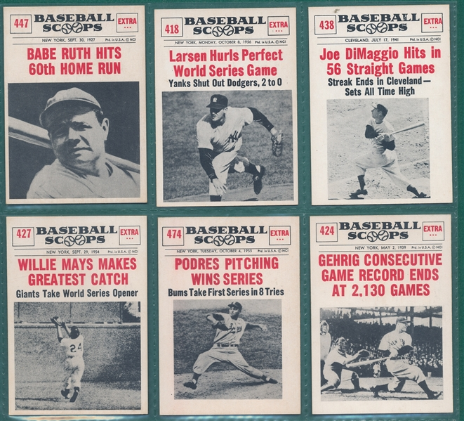 1961 Nu-Card Baseball Scoops Lot of (6) W/ Babe Ruth