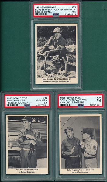 1965 Gomer Pyle Lot of (3) W/ #42 PSA 8.5