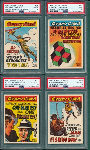 1961 Crazy Cards Lot of (10) W/ #6 PSA 9 *MINT*