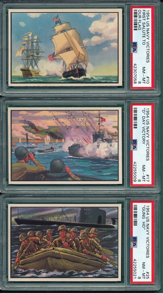 1954 Bowman US Navy Victories Lot of (3) PSA 8