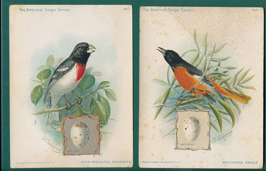 1895 Singer Sewing The American Singer Series Complete Set of Birds (16)