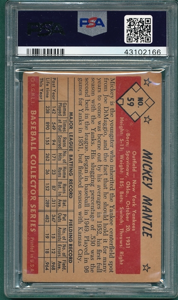 1953 Bowman Color #59 Mickey Mantle PSA 3.5