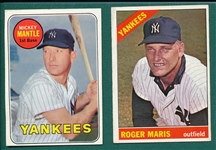 1966 Topps #365 Maris & 1969 Topps #500 Mantle, Lot of (2)