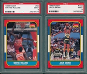 1986 Fleer BSKT #93 Rollins & #102 Sikma, Lot of (2), PSA 9 *MINT*