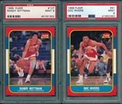1986 Fleer BSKT #91 Rivers & #127 Wittman, Lot of (2), PSA 9 *MINT*