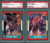 1986 Fleer BSKT #14 Carroll & #48 Hubbard, Lot of (2), PSA 9 *MINT*
