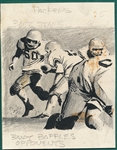 1961 Topps Football Original Art Bowler, Bart Starr