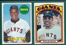 1969/72 Topps Lot of (2) Willie Mays
