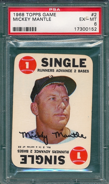 1968 Topps Game #2 Mickey Mantle PSA 6
